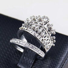 Fashion Women Queen Crown Ring Set Crystal Rhinestones Two-piece Rings Jewelry