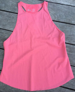Zyia Active Women's Coral Double Racer Back Swooped Raw Hem Tank Top Medium