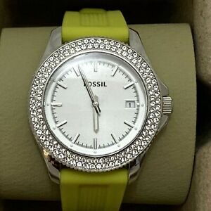 Fossil Womens Watch AM4465 crystal rhinestone chartreuse rubber band New in box
