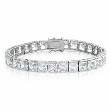 Cubic Zirconia Tennis Bracelet Rhodium Plated  6x6mm Square White CZ