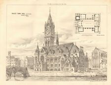 1875 ANTIQUE PRINT- ARCHITECTURE - SCOTLAND - PAISLEY TOWN HALL, SELECTED DESIGN