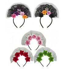 Scary Veil Headband Flowers & Skulls Halloween Adult Party Floral Costume