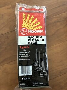 Hoover Type C Upright Vacuum Cleaner Bags 40100003C 4 PACK Genuine Hoover