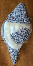 Antique Tibetan Silver Repousse Conch Shell Trumpet Horn 19th century Chinese