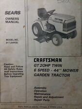 Sears Craftsman 20hp 44 6 sp Lawn Garden Tractor Owner & Parts Manual 917.254430