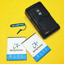 2x 1800mAh Battery+Home Charger+Stylus for Straight Talk/Net10 ZTE Whirl 2 Z667G