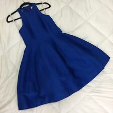 Halston Heritage $445 Bright Royal Blue Belle Silk Faille Structured Dress Sz 4