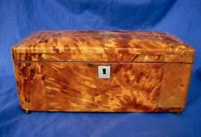 "Antique Faux Tortoise Shell Tea Caddy 12""x5""x5"" English Hinged Lid c1860s"
