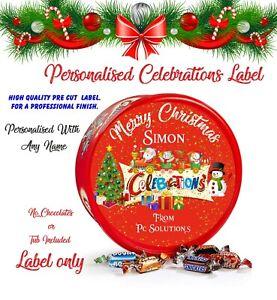 Personalised Chocolate LABEL ONLY  fits Celebrations Tub Christmas  Secret Santa