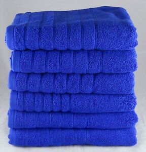 12 Pack 525 gsm Egyptian Cotton Face Towels Flannels Wash Cloths - ROYAL BLUE