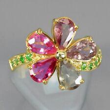 3.98 Carat Natural Sapphire Flower Ring With Tsavorite Garnet in 925 Silver