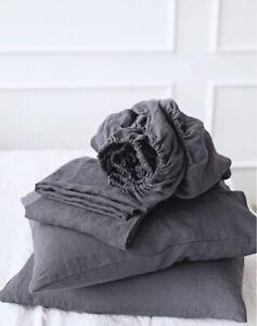 Queen King Sheets Set Linen 100% AU US  fitted + Flat Sheet +2 Pillowcase CUSTOM