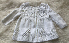 hand knitted baby cardigan 0-3 months white