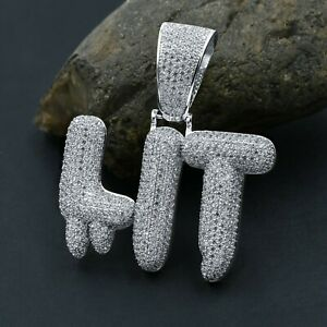 """New Icy White Gold Over Sterling Silver """"LIT"""" Charm Diamond Simulate Pendant!"""