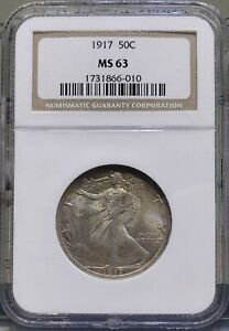 1917-P NGC MS 63 50C Walking Liberty Half Dollar Fifty Cent Silver U.S. Coin