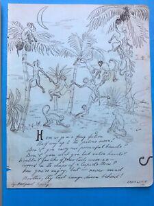 Antique 1900 Pen And Ink Sketch -Rudyard Kipling.