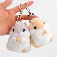 AM_ EE_ Cute Plush Hamster Pendant Key Chain Clasp Key Ring Keyring Handbag Deco