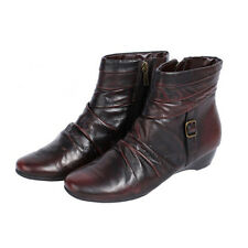 WOMAN SHOES DESIGNER BROWN LEATHER LOW WEDGE HEEL ANKLE BOOTS supersoft