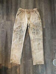 Vintage CARHARTT Work PANTS Mens 32 X 34 Painter Carpenter TRASHED WORN FADED