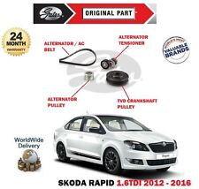 FOR SKODA RAPID 1.6 TDI 2012> ALTERNATOR FAN BELT + TENSIONER + TVD + PULLEY KIT