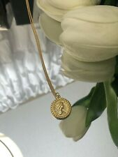 Sterling Silver Yellow Gold Plated Coin Pendant Necklace Vintage