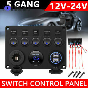 Car Boat 5 Gang ON-OFF Toggle Switch Panel Dual USB 12V Fit MarineTruck ATF