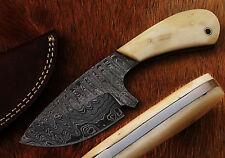 Beautiful Damascus Handmade Hunting Knife with Camel Bone Handle (CKW11)