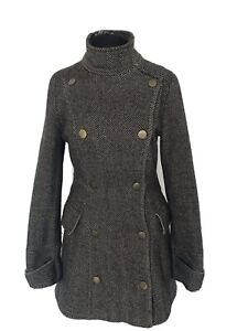 Topshop Premium Herringbone Tweed Coat UK 8 Military Funnel Neck Wool Blend