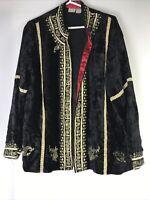 Soft Surroundings Size L Black Velvet Embroidered Open Front Draped Blazer India