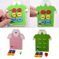 Kids Educational Toys Children Beads Lacing Board Wooden Toys Sew On Buttons