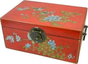 Asian Decoration Box -Traditional Red Flower and Bird Painted Medium New