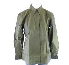 Heldmann Women's Blouse Size 36 Green Black Cotton Two Tone Taffeta Shiny NP 99