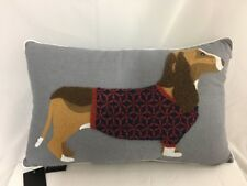 Dachshund Sweater Dog Embroidered Throw Accent Pillow Gray Gorgeous NWT 18x22""