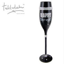 Tallulah Black Champagne Flute Wine Glass Happy Birthday Diamante Hand Painted