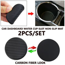 2Pcs 63mm Car Dashboard Water Cup Slot Non-Slip Mat Pad Kits Carbon Fiber Look