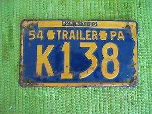 1954 Pennsylvania Trailer License Plate PA Tag K138 Penna 54