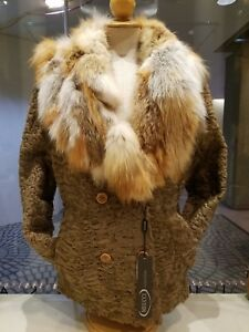 Persian Lamb with Fox Collar Fur Coat/Jacket. Size 44 (EUR) or size 14 (US). New