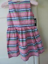 NWT Polo Ralph Lauren Girls Pink Stripe Dress Cotton 7 Cutout Back Spring Easter