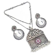Indian Traditional Necklace Set With Earrings Pink Color Silver Festive Jewelry