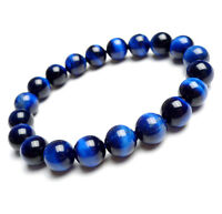Natural Blue Tiger Eye Gemstone Round Beads Bracelet AAA 10mm