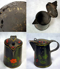 EARLY Vintage TOLEWARE Hand-Painted CREAMER Pitcher FLOWER Tin TOLE Art ANTIQUE