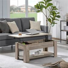 Modern Wood Lift Top Coffee Table with Hidden Compartment and Lower Shelf Gray