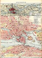 c. 1890 SWEDEN STOCKHOLM CITY PLAN Antique Map