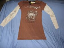 NEW WOMEN'S ED HARDY BROWN SKULL & ROSES RHINESTONES SZ SMALL LONG SLEEVE SHEER