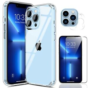 For iPhone 12 13 Pro Max/Mini Clear Case Slim Cover,Camera Lens Screen Protector