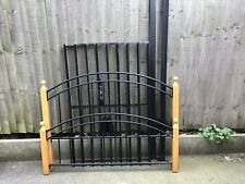 Black metal and wood double bed frame