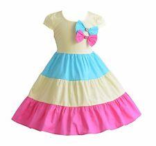 NUOVO Cinda ragazze giallo blu e rosa acceso Tre COLORATI Abito 7-8 anni