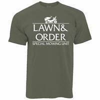 Mens Lawn and Order T Shirt Special Mowing Unit Gardening Lawn Grass Summer Tee