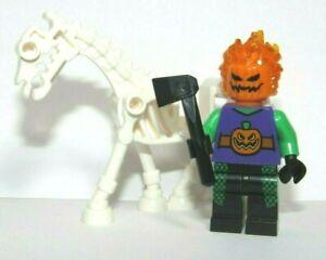 Lego Skeleton Horse & Jack O Lantern Pumpkin Minifigure Flaming Hair Halloween