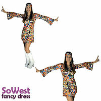 60s 70s Fancy Dress Costume Swirl Flower Power HIPPY HIPPIE RETRO GOGO